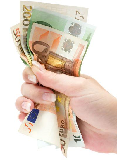 Grabbing Euro Banknotes