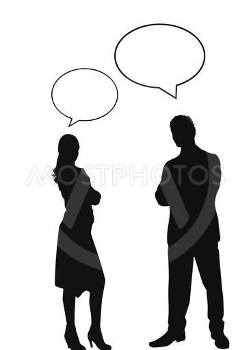 man and woman silhouettes with speech bubbles