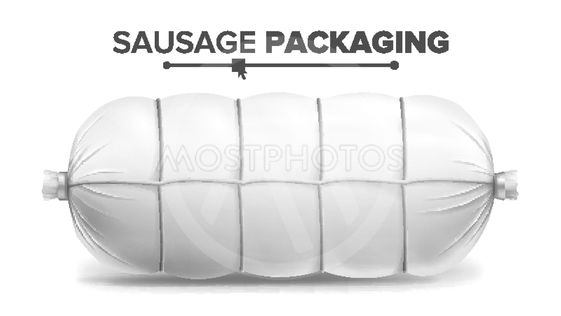 White Sausage Package Vector. White Mock Up For Branding...