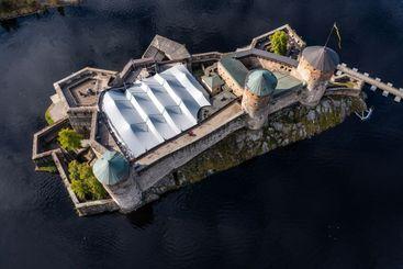 High angle view of Olavinlinna castle in Savonlinna
