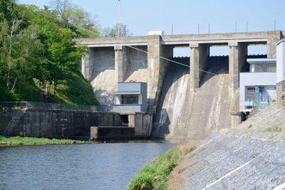 Water release at dam wall Brno dam - Czech republic