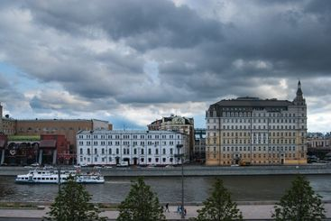 The cityscape is a view of summer Moscow. City,...