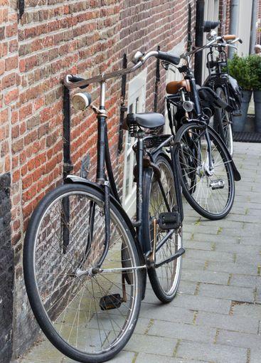 Black tradtional dutch bikes