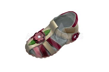 children's shoes with flowers isolated