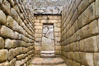 Doorway of Inca temple at Machu Picchu
