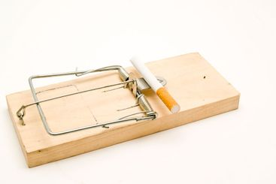 mousetrap and cigarette