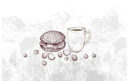 Hand Drawn of Hot Coffee with Hamburger