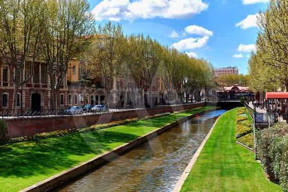 View to the Canal of Perpignan in springtime. France