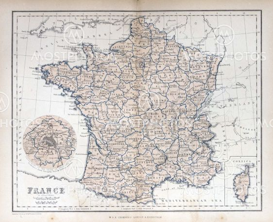 Old Map Of France.Old Map Of France 1870 By Michael Roberts Mostphotos