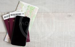 travel and vacation concept - top view of passports,...