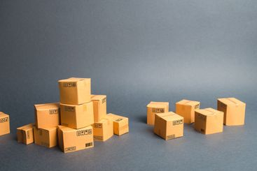 Many cardboard boxes. products, goods, commerce and...