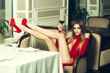 Sexy woman in restaurant