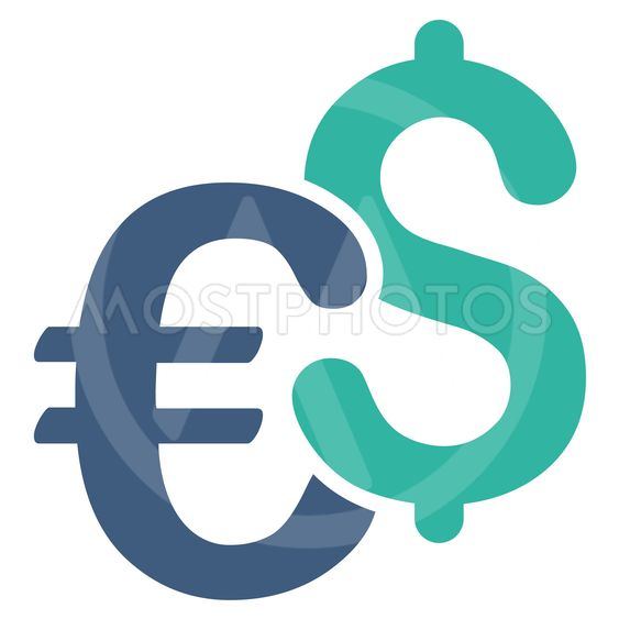 Dollar and Euro Symbols Flat Vector Icon