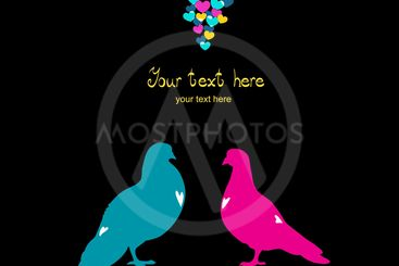 Two pigeons, love colorful card. Can be used for...
