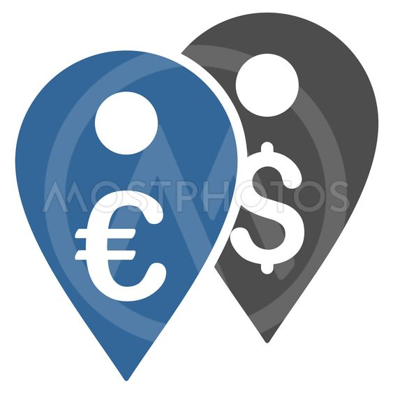 Euro and Dollar Map Markers Flat Vector Icon