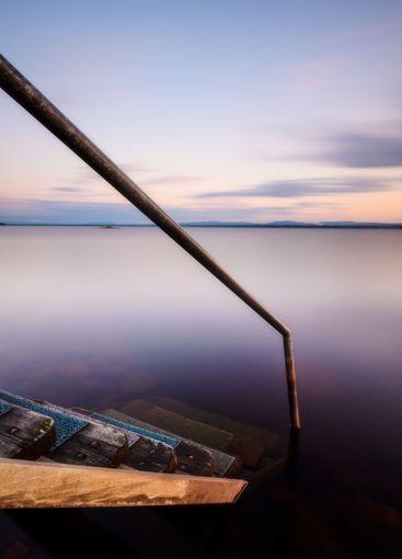 Steps down to lake, Orsa, Dalarna, Sweden