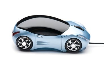 Computer mouse car on white