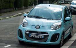 Front view of blue Citroen C1 parked in the street