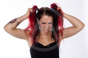 Frustrated Punk Girl Pulls Hair