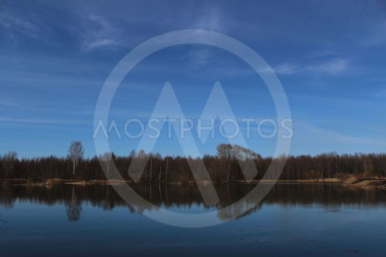 forest lake, blue sky, spring