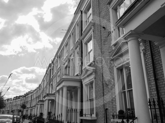 Terraced Houses in London in black and white
