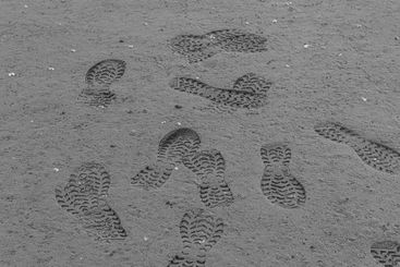 Shoe prints in wet sand on a beach.