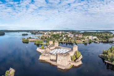 Aerial view of Olavinlinna Castle and Savonlinna Town.