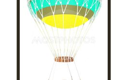 Hot  Colored Air Balloon and  basket. 3d render