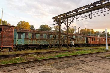 The old train cars at the train station