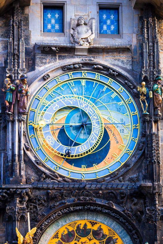 Astronomical Clock Orloj closeup in Czech Republic,...