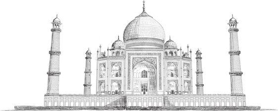 Hand Drawn Detailed Taj Mahal Vector Sketch Illustration