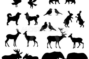 Set of lovely animal lovers couples silhouette: deers,...