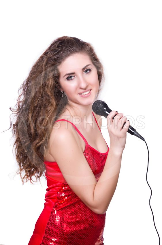 Young woman singing isolated on white