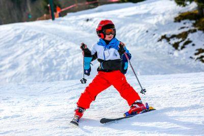 GERARDMER, FRANCE - FEB 16 - French kid form ski school...