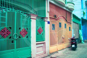 Town house in Vietnam. The mysterious door