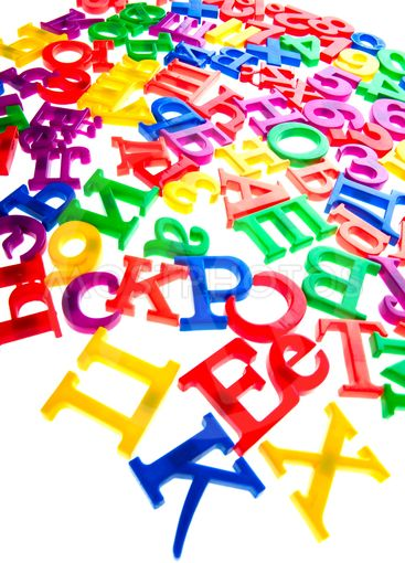 plastic letters and numbers isolated close up