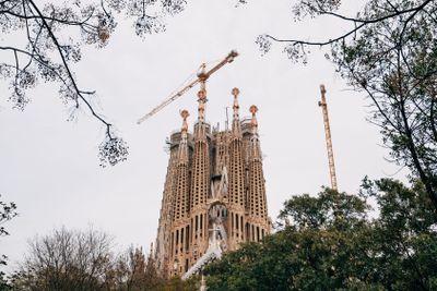 Barcelona, Spain - 15 December 2019: Construction cranes...