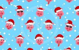 Seamless Print with Cartton Funny Pigs in Sata Hats,...