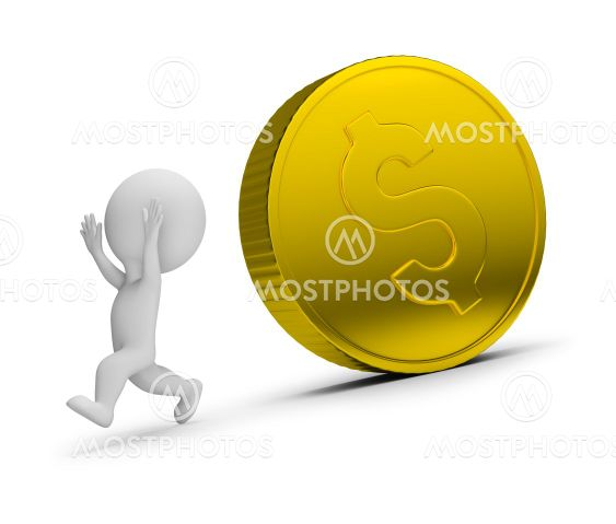 3d small people - runs away from the rolling coin
