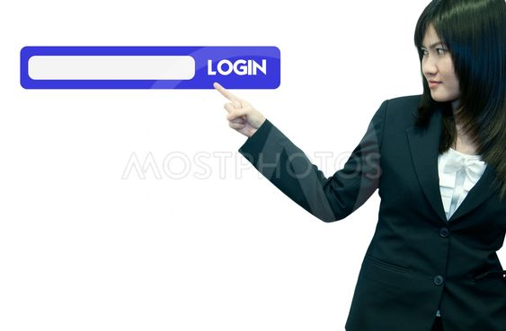 Business woman stand on with search interface