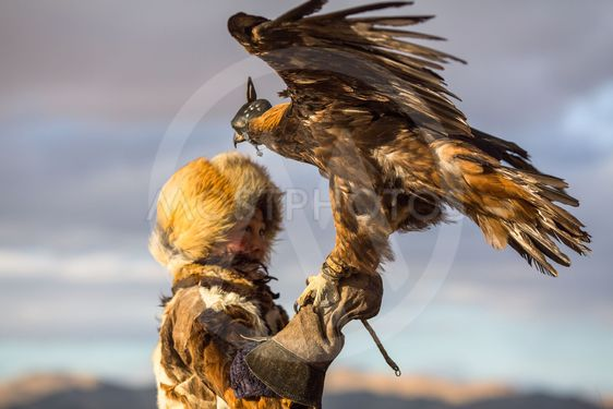 Young Kazakh Eagle Huntress (Berkutchi woman) with horse...