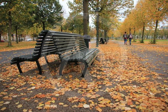 Black bench and walking couple in fall in the town.