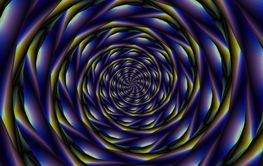Spiral Tunnel in Violet Yellow and Blue