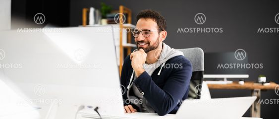 Employee Using Business Computer