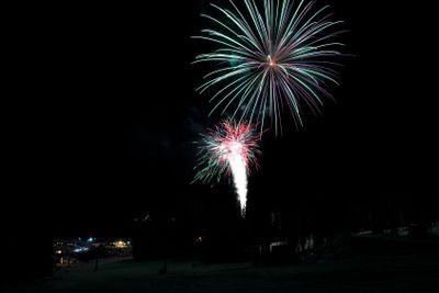 Fireworks at a ski resort in British Columbia