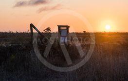 Stora Alvaret i soluppgången vid en stätta och...