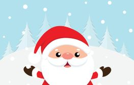 Christmas Greeting Card with Christmas Santa Claus and...