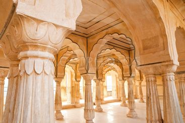 Columned hall of Amber fort