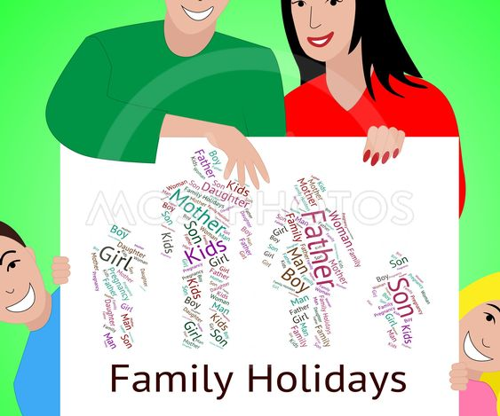 Family Holiday Indicates Go On Leave And Families