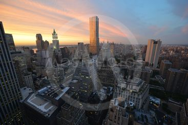 View of Downtown Manhattan at Sunset looking North